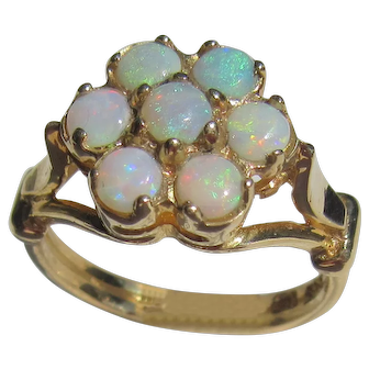 14kt Yellow Gold Opal Floral Cluster Ladies Ring