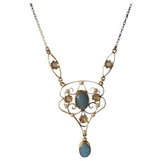 Multi Opal and Seed Pearl Pendant on Gold Chain