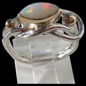 Ocular Shape Fiery Opal Silver/Gold Ring