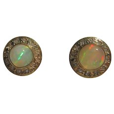 9 kt Yellow Gold Rainbow Color Round Opal and Multi Diamond Stud Earrings