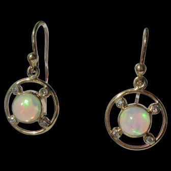 Circular Opal and Diamond Gold Dangle Earrings