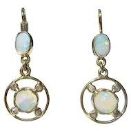 14kt Multi Opal and Diamond Dangle Earrings