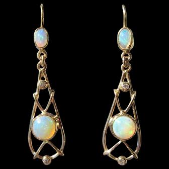 9 kt Yellow Gold Double Opal and Diamond Dangle Ladies Earrings