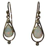 9 kt Yellow Gold Pear Shape Fiery Opal and Diamond Dangle Earrings