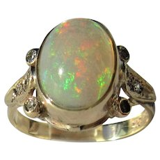 Fiery Oval Opal and Diamond Gold Ladies Ring