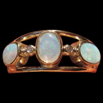 14kt Triple Opal and Diamond Ladies Ring