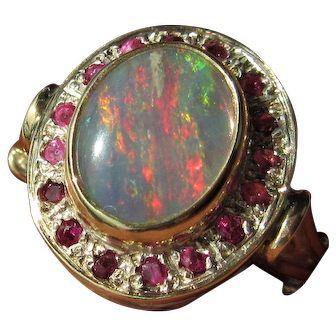 Sterling & 9 kt Yellow Gold Fiery Opal and Multi Ruby Ladies Ring
