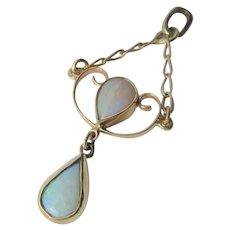 14kt Yellow Gold Double Fiery Pear Shape Opal Dangle Pendant