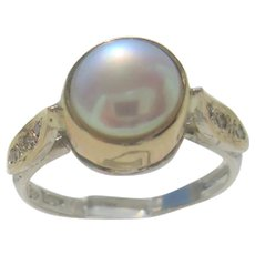 Freshwater Pearl and Diamond Ladies Ring
