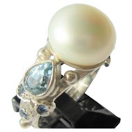 Sterling Silver Large Fresh Water Pearl, Blue Topaz and Sapphire Ladies Ring