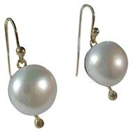 Freshwater Pearl and Diamond Dangle Gold Earrings