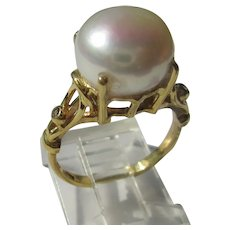 Large Freshwater Pearl and Diamond Ladies Ring