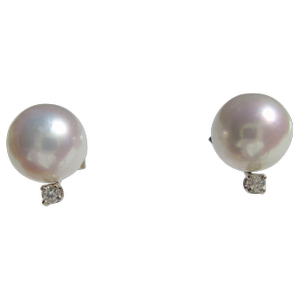 14 kt Gold Culture Pearl and Diamond Stud Earrings