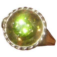 Sterling/9kt Gold Peridot Ladies Ring