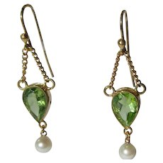 14kt Lime Green Peridot and Freshwater Pearl Earrings