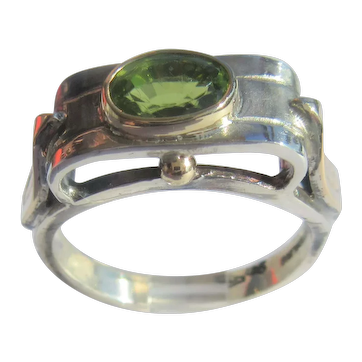 Peridot Sterling Silver and Gold Ladies Ring