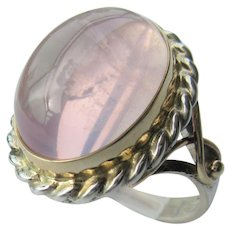 Sterling Silver/ 9 kt Yellow Gold Rose Quartz Ladies Ring