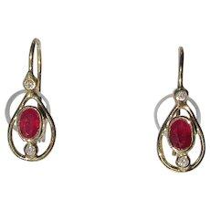 Pear Shape Ruby and Diamond Gold Dangle Earrings