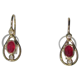 Pear Shape Ruby and Diamond Gold Dangle Earrings