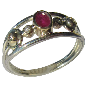 Sterling Silver/ Gold Ruby and Diamond Ladies Ring