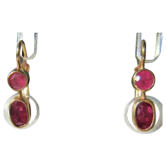 14 kt Yellow Gold Double Ruby Dangle Earring European Closure