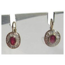 14 kt Gold and Sterling Ruby and Multi Diamond Dangle Earrings