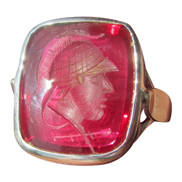 Carved  Soldier Man Made Ruby Sterling Silver Unisex Ring