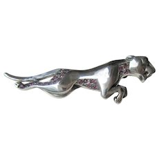 Sterling Silver Multi Ruby Cougar Brooch