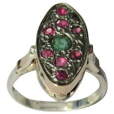 Emerald and Ruby Sterling Silver Ring