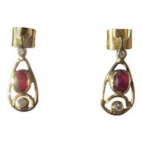 9 kt Yellow Gold Ruby and Diamond Drop Earrings
