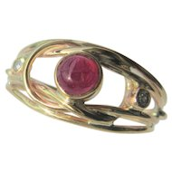 9kt Yellow Gold  Cabochon Deep Red Ruby and Diamond Ladies Sporty Ring