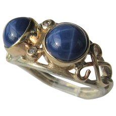 Sterling Silver and 9 kt Yellow Gold Double Lindy Star Sapphire and Diamond Ladies Ring