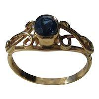 Indigo Blue Sapphire and Diamond Ladies Ring