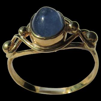Denim Blue Cabochon Sapphire Ladies Gold Ring