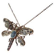 Multi Blue Gemstones Sterling Silver Butterfly Brooch/Pendant
