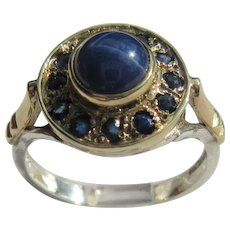 Sterling Silver and 9kt Yellow Gold Artisan Lindy Star Sapphire and Multi Sapphire Ladies Ring