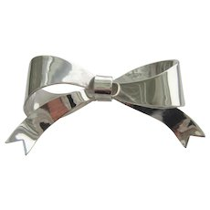 Sterling Silver  Ribbon Bow Brooch