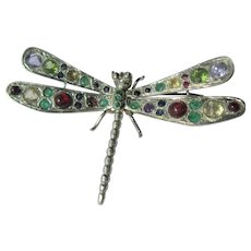 Sterling Silver Multi Gemstone Dragon Fly Brooch