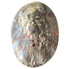 Sterling Silver  3-D Brooch/Pendant of Woman with Rubies/Diamonds