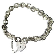 Sterling Silver Link Bracelet with Heart Padlock
