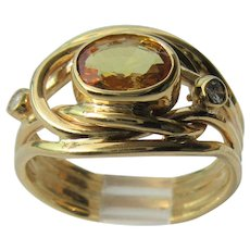 14kt Yellow Gold  Gold Topaz and Diamond Ladies Ring