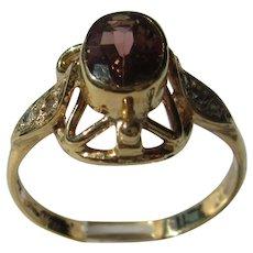 Pink Tourmaline and Diamond Ladies Gold Ring