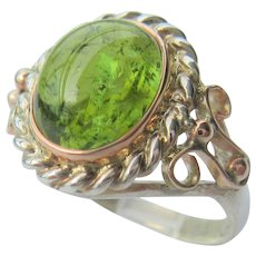 Sterling Silver and 9 kt Pink Gold  Green Tourmaline Ladies Ring
