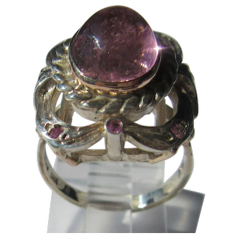 Pink Tourmaline and Ruby Sterling Silver and Pink Gold Ladies Ring