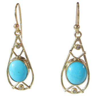 9 kt Gold Turquoise and Diamond Ladies Dangle Earrings