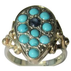 Pear Shape Multi Turquoise and Sapphire Ladies Ring