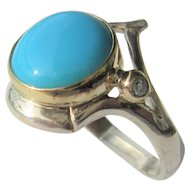 Sterling Silver and 9 kt Yellow Gold  Round Turquoise and Diamond Ring