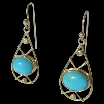 Oval Turquoise Gold Dangle/Drop Earrings