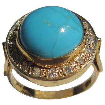 Round Turquoise/Diamond 9 kt Gold Ladies Ring