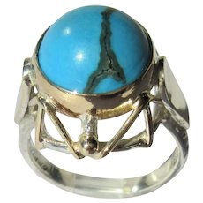 Sterling Silver and Gold Round Turquoise Ladies Ring